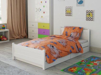 Dětské povlečení do postýlky oranžové hnědé bílé pes pejsek štěně motýl motýlek kreslené postavičky