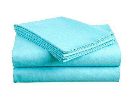 prostěradlo bavlněné plachta hladké hotelové dvoulůžko 230 x 240 cm azurové tyrkysové modré