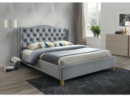 Šedá čalouněná postel ASPEN VELVET 160 x 200 cm