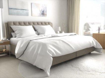 Hotelové povlečení atlas grádl bílé - 8 mm proužek mykaná bavlna
