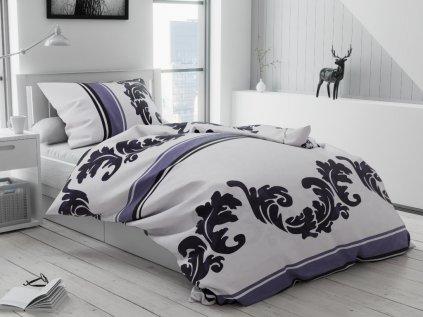 Bavlněné povlečení bílé šedé fialové ornamenty pruhy proužky orient