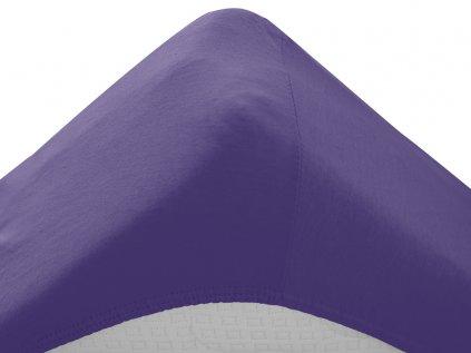 prostěradlo bavlněné jersey žerzejové dvoulůžko 180 x 200 cm fialové