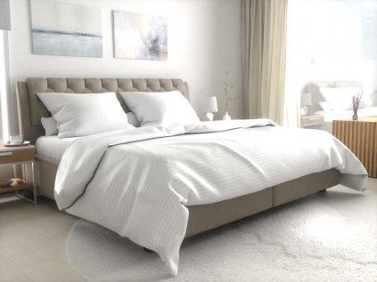 Hotelové povlečení atlas grádl bílé 2 cm proužek česaná bavlna