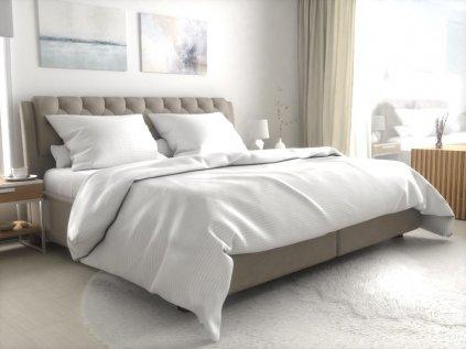 Hotelové povlečení atlas grádl bílé - 4 mm proužek mykaná bavlna