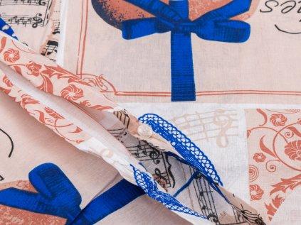 Bavlněné povlečení hnědé béžové tyrkysové romantické provence shabby srdce dřevo vzorované rustikální  krajka