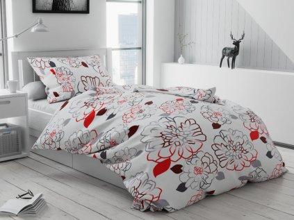 Bavlněné povlečení bílé šedé červené vínové květiny květy růže