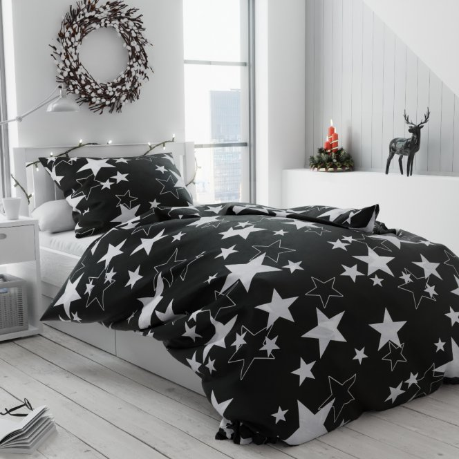 Krepové povlečení bílé černé hvězdy hvězdičky vánoční moderní vánoce