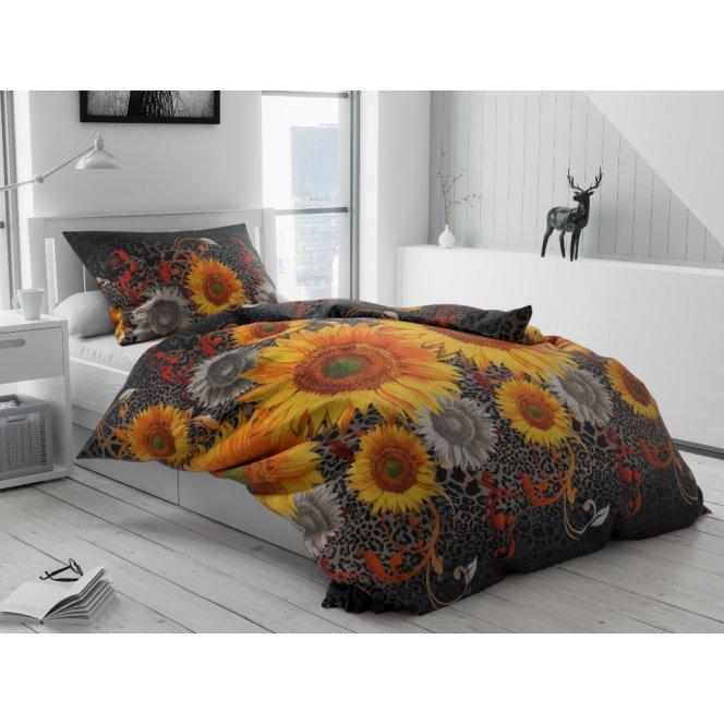 Bavlněné povlečení levné oranžové žluté černé šedé slunečnice květiny kytky květy extravagantní pestré leopard