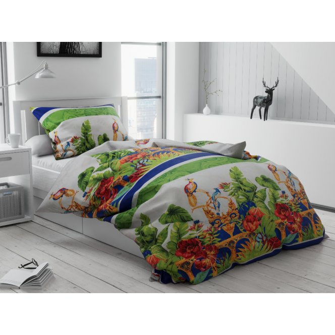 Bavlněné povlečení levné bílé zelené červené oranžové žluté modré ptácí jungle džungle zahrada luxusní rostliny květy květiny pestré