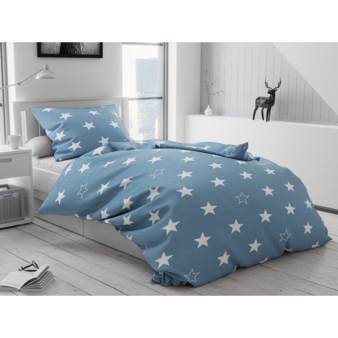 Bavlněné povlečení šedé modré bílé  hvězdičky hvězdy vánoční moderní skandinávské