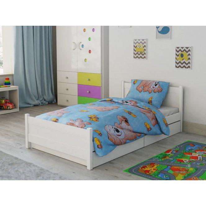 Dětské povlečení do postýlky modré tyrkysové hnědé bílé pes pejsek štěně motýl motýlek kreslené postavičky