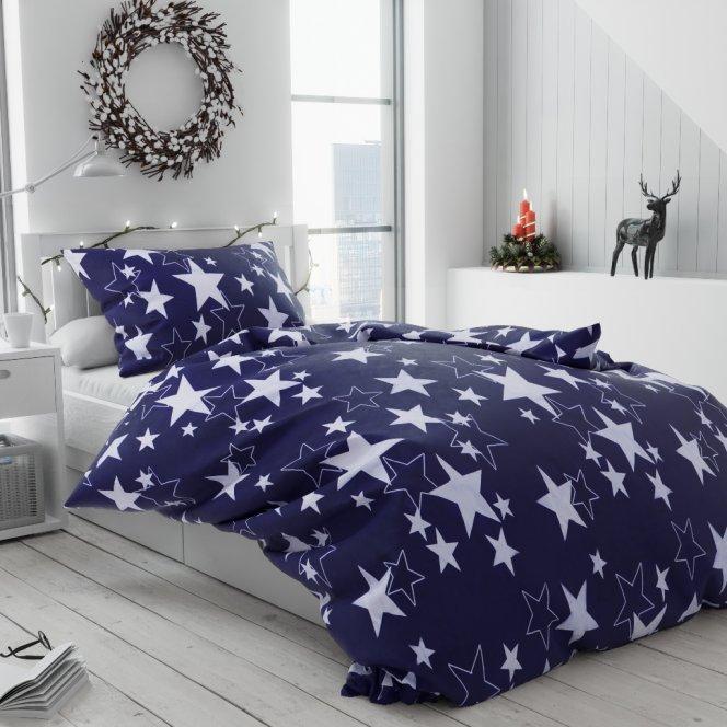 Bavlněné povlečení bílé modré hvězdy hvězdičky vánoční moderní vánoce