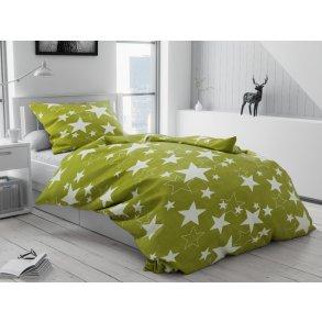 Krepové povlečení bílé zelené hvězdy hvězdičky vánoční moderní vánoce