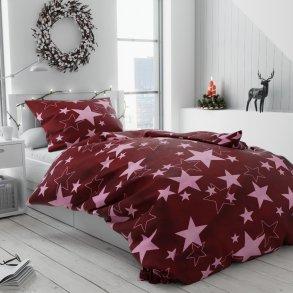 Povlečení mikroplyš bílé červené vínové hvězdy hvězdičky vánoční moderní vánoce