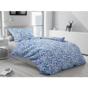 Bavlněné povlečení modré tyrkysové bílé ornament orient vzorované bordura moderní