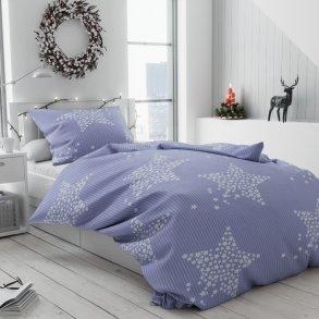 Bavlněné povlečení levné modré fialové bílé pruhy proužky hvězdy hvězdičky vánoční moderní