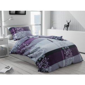 Bavlněné povlečení šedé černé fialové pruhy proužky bordura květiny květy luxusní elegantní