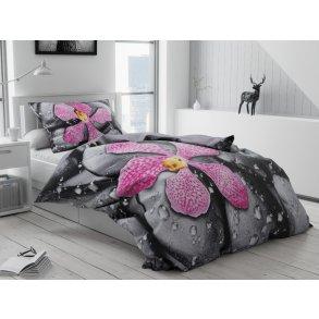 3D povlečení fotopotisk fototisk růžové černé šedé růžové fialové  květiny květy orchidej kameny oblázky rosa kapky