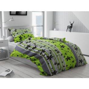 Bavlněné povlečení Liana zelená (Francouzské Povlečení na peřinu s polštářem 2 ks 70 x 90; 200 x 220cm)