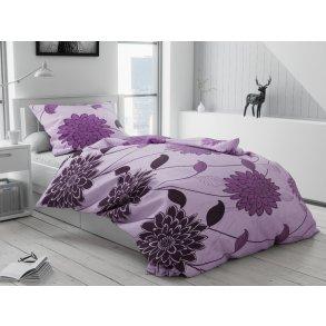 Bavlněné povlečení Valerie fialová (Francouzské Povlečení na peřinu s polštářem 2 ks 70 x 90; 200 x 220cm)