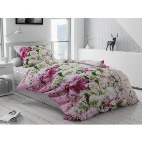 Bavlněné povlečení růžové zelené bílé květuny květy lilie kosatec zahrada louka kytice