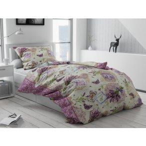 Bavlněné povlečení béžové krémové fialové provence levandule shabby motýl motýlci romantické dívčí holčičí holky