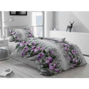 Bavlněné povlečení šedé fialové zelené květiny květy kytice zahrada
