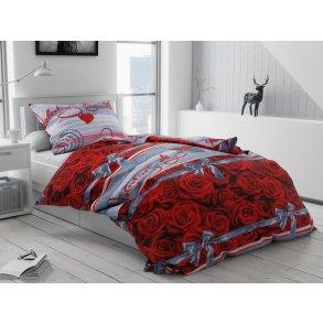 Bavlněné povlečení červené šedé valentýnské valentýn romantické růže květiny láska