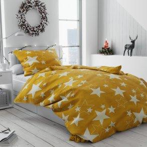 Bavlněné povlečení bílé žluté oranžové hvězdy hvězdičky vánoční moderní vánoce