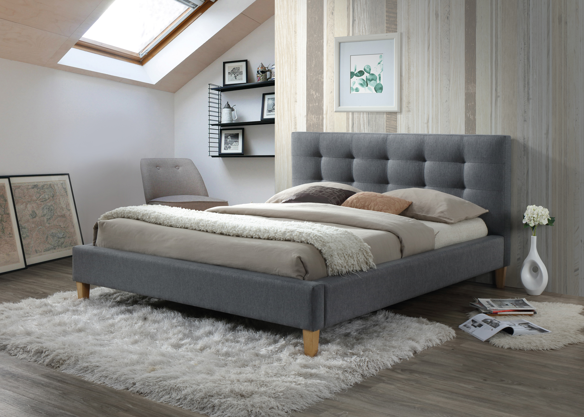 Čalouněná postel TEXAS 180x200 cm šedá s roštem ZDARMA Matrace: bez matrace