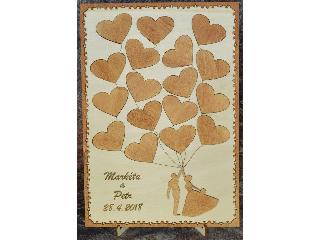 Dřevěná svatební kniha hostů