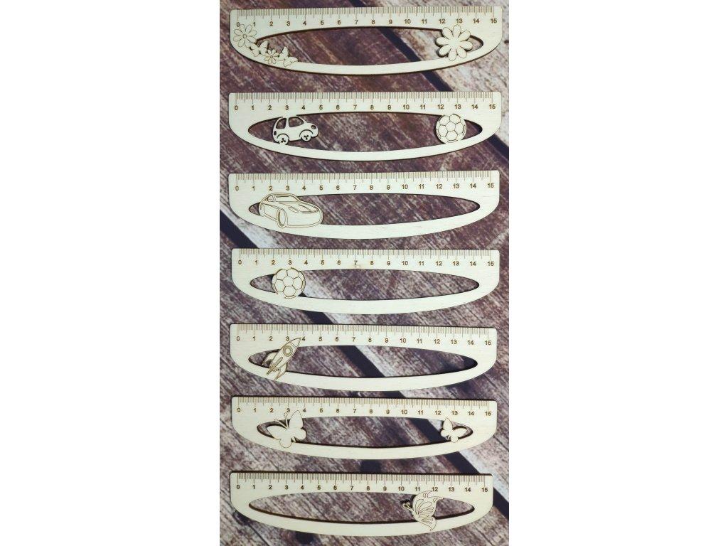 Dřevěná pravítka 15cm