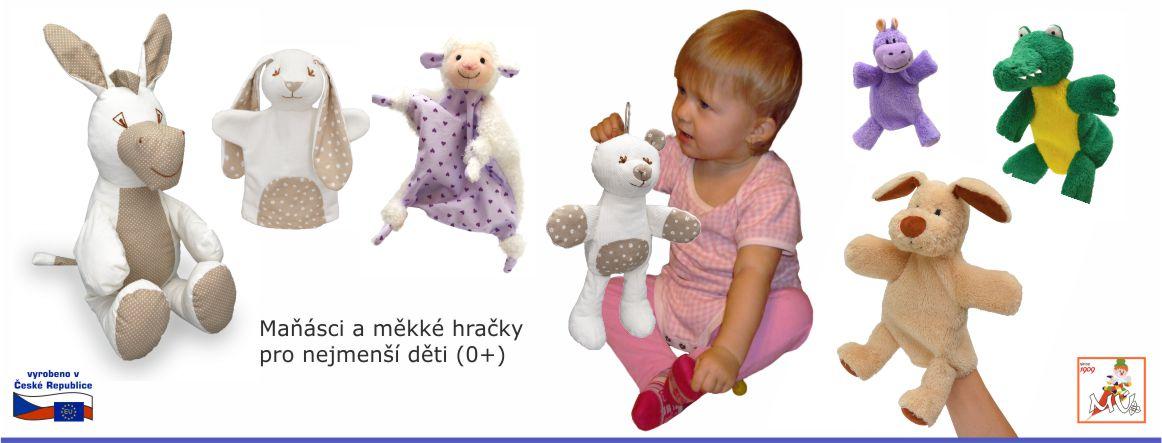maňásci a plyšáci pro nejmenší děti 0+ od českého výrobce - oslík, pejsek, ovečka, krokodýl, hroch, medvídek, zjíc