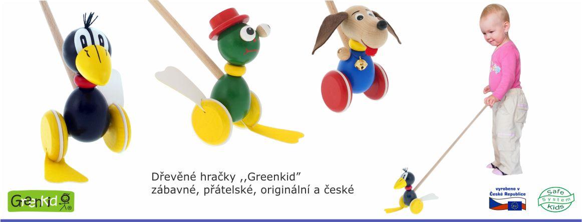 České dřevěné hračky - strkadla na tyči - plácačky - pohyblivé a zvukové hračky pro děti