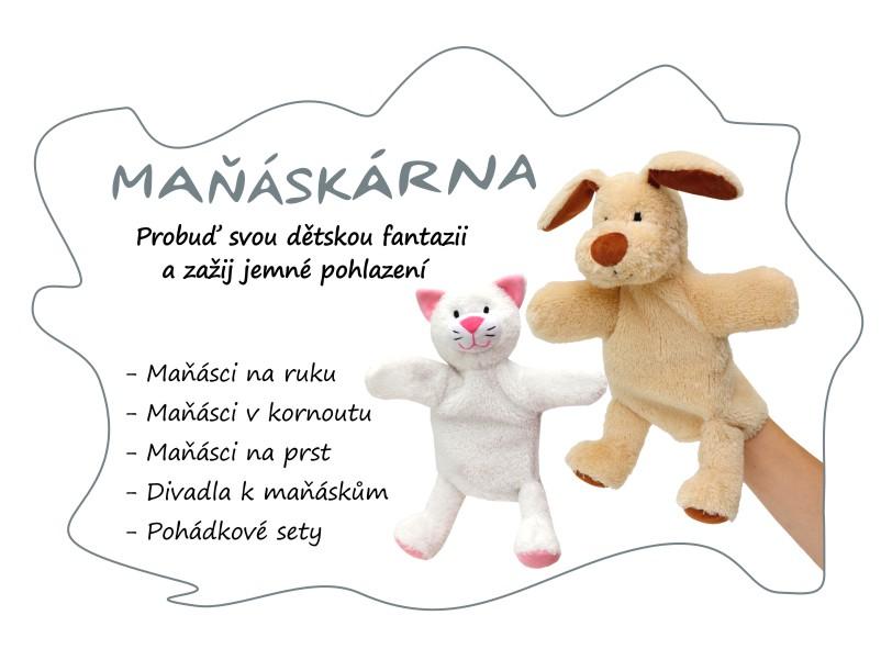 maňásci na ruku a v kornoutu - vyrobeno pro děti a vyrobeno v ČR