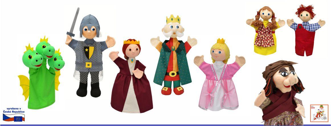 Maňásek rytíř drak král královna princezna Jeníček Mařenka ježibaba - textilní hračky vyrobené v ČR