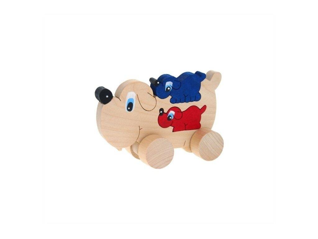 Puzzle na kolečkách hračka ze dřeva - Pes