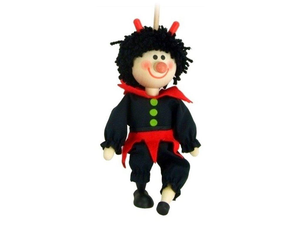 Loutka na tyči hračka ze dřeva - Čert