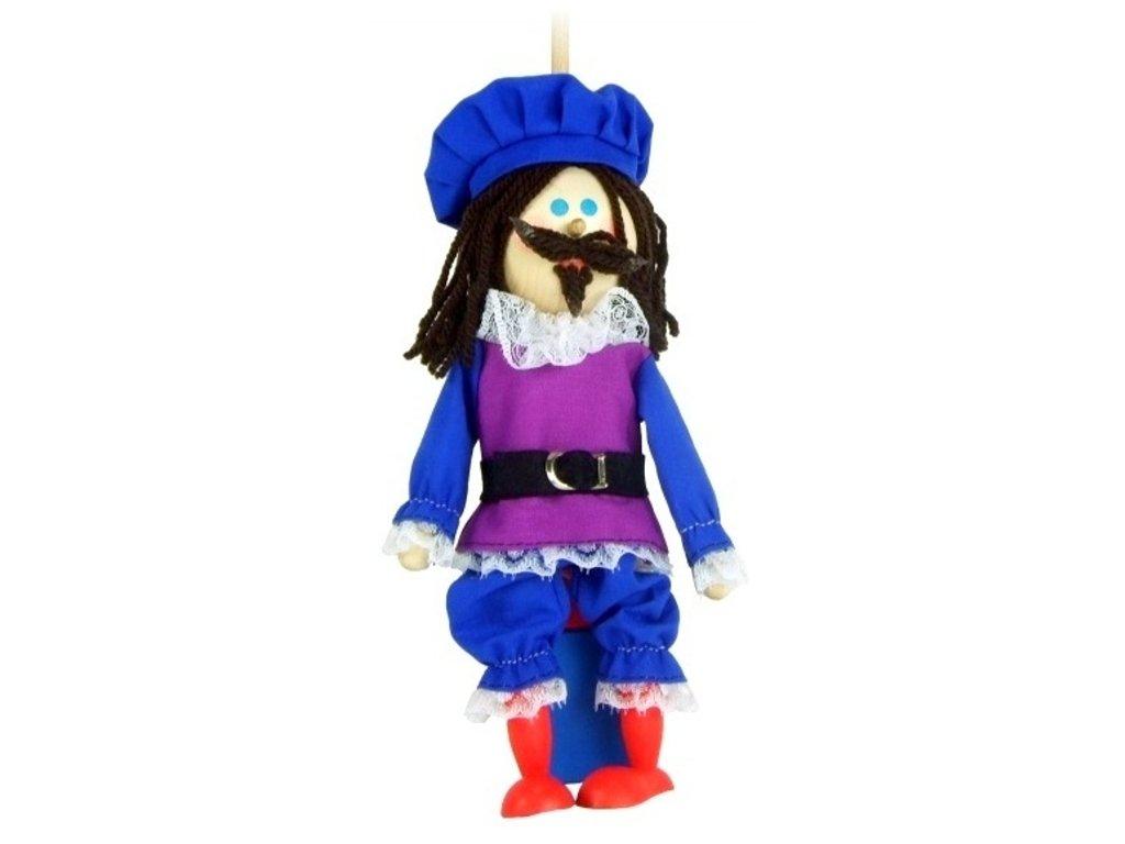 Loutka na tyči hračka ze dřeva - Princ s vousy