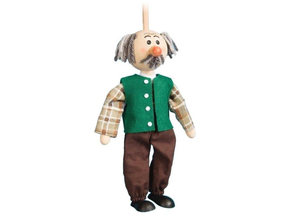 Loutka na tyči hračka ze dřeva - děda