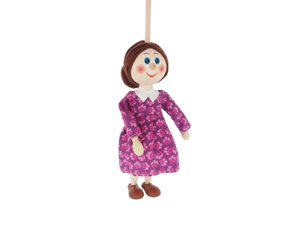 Loutka na tyči hračka ze dřeva - máma