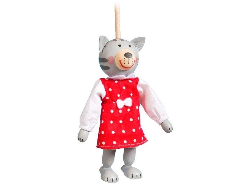 Loutka na tyči hračka ze dřeva - kočka