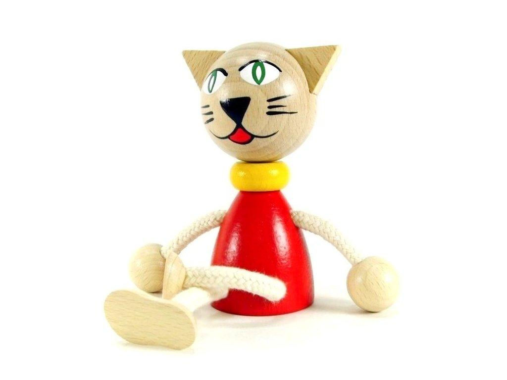Sedací figurka hračka ze dřeva - Kočka