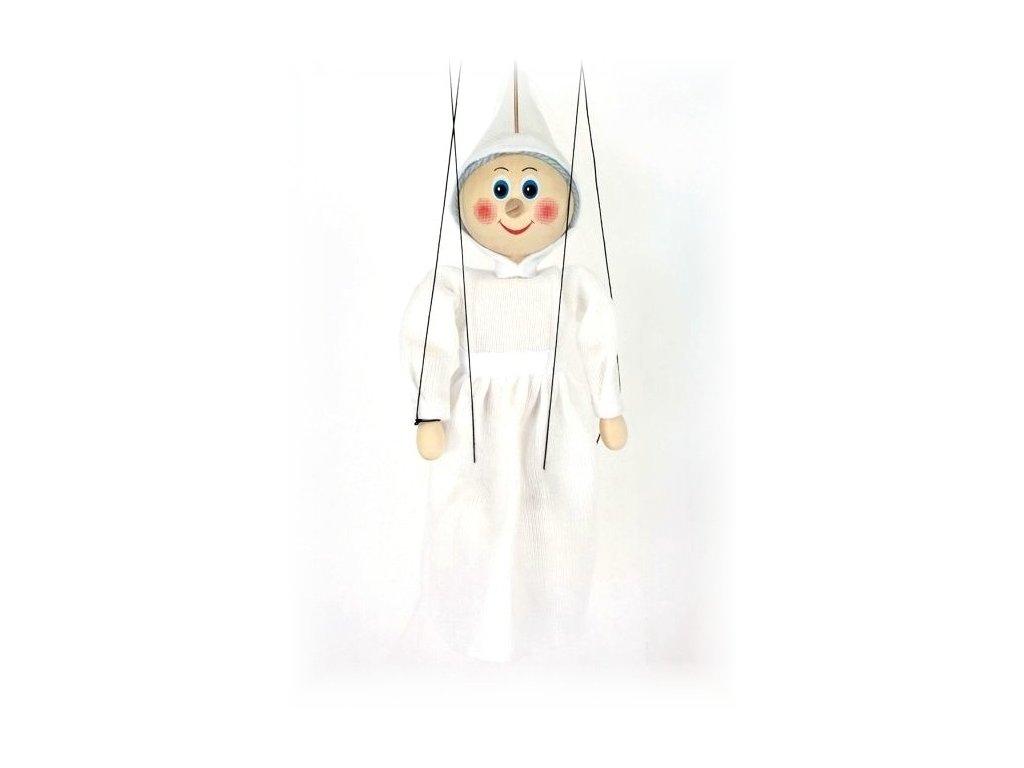 Dřevěná loutka - hračka ze dřeva - Bílá paní