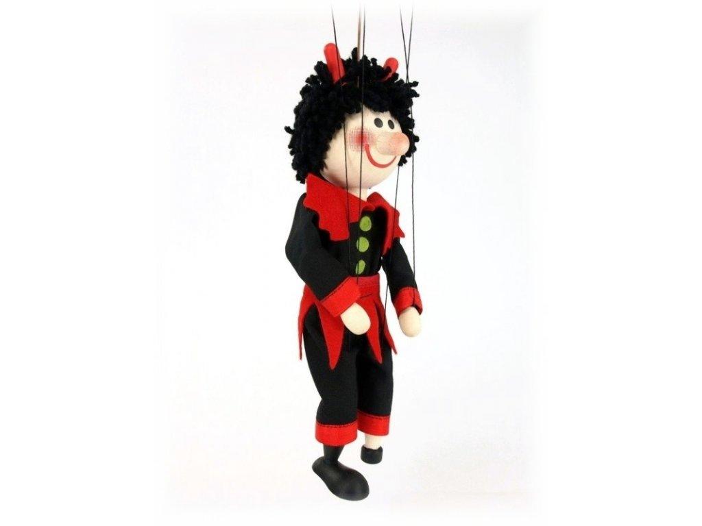 Dřevěná loutka - hračka ze dřeva - Čert černý plášť