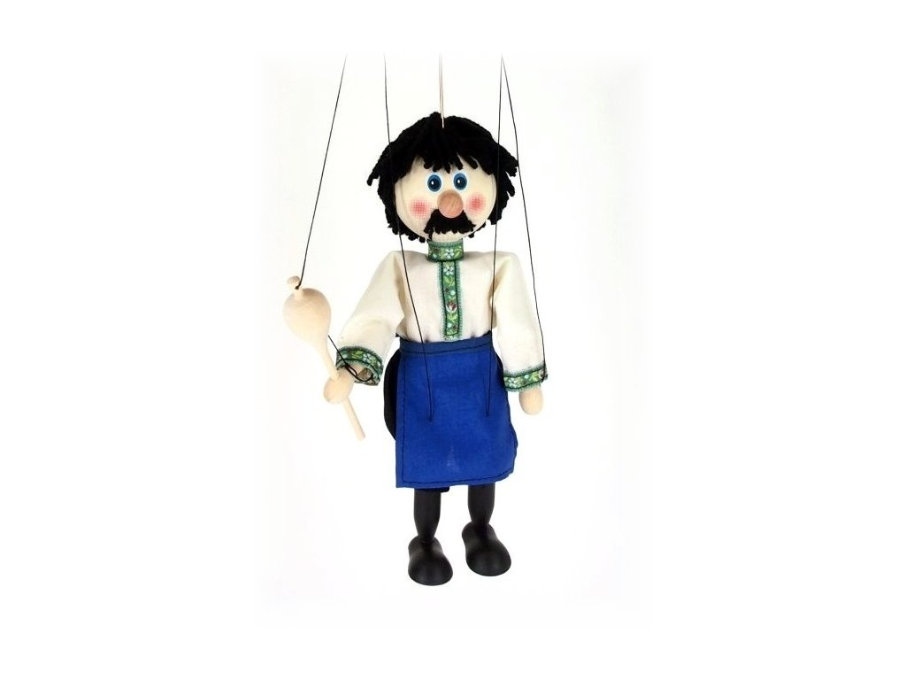 Dřevěná loutka - hračka ze dřeva - Vinař