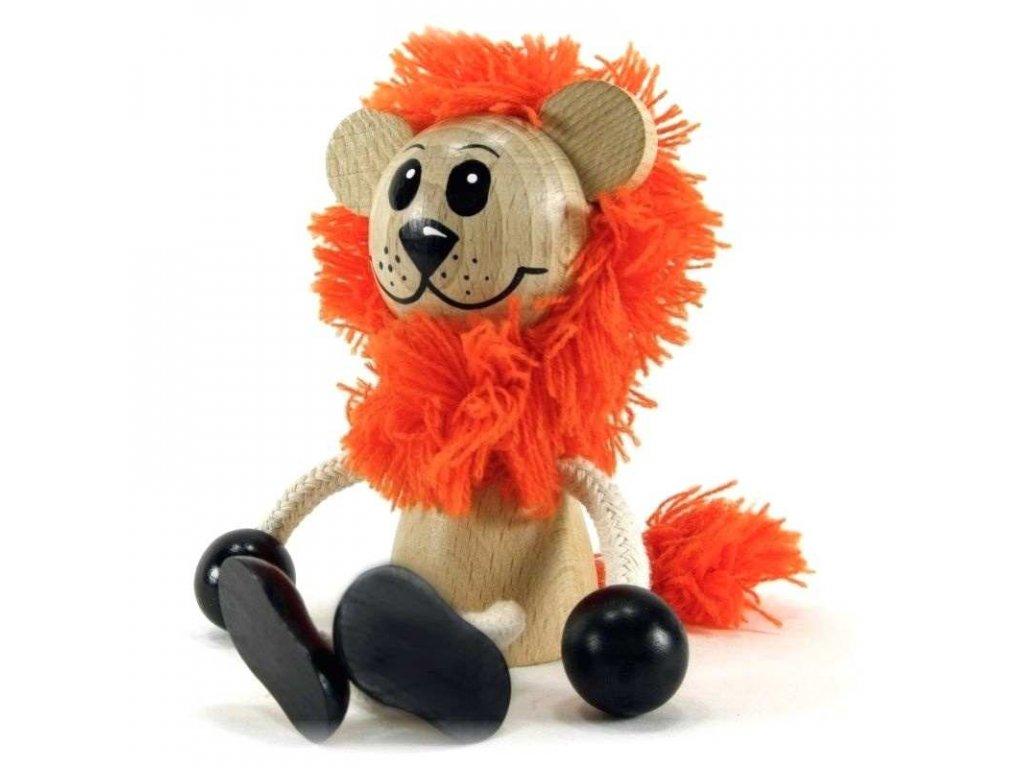 Sedací figurka hračka ze dřeva - Lev