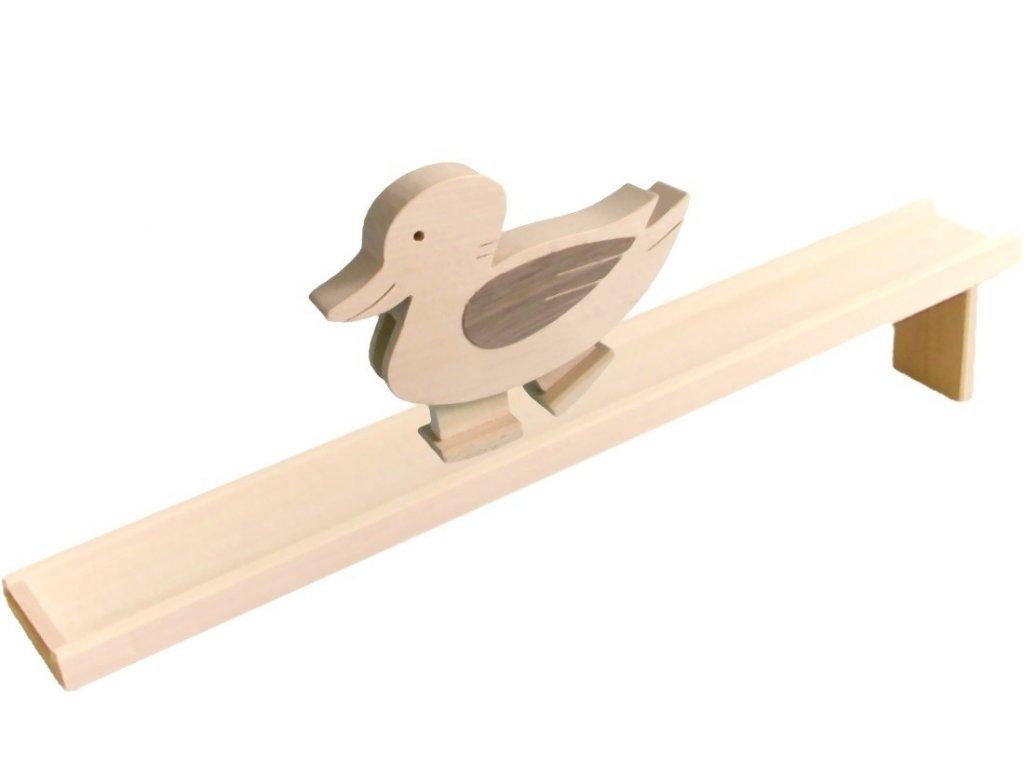 Chodící hračka ze dřeva - Kačenka natur