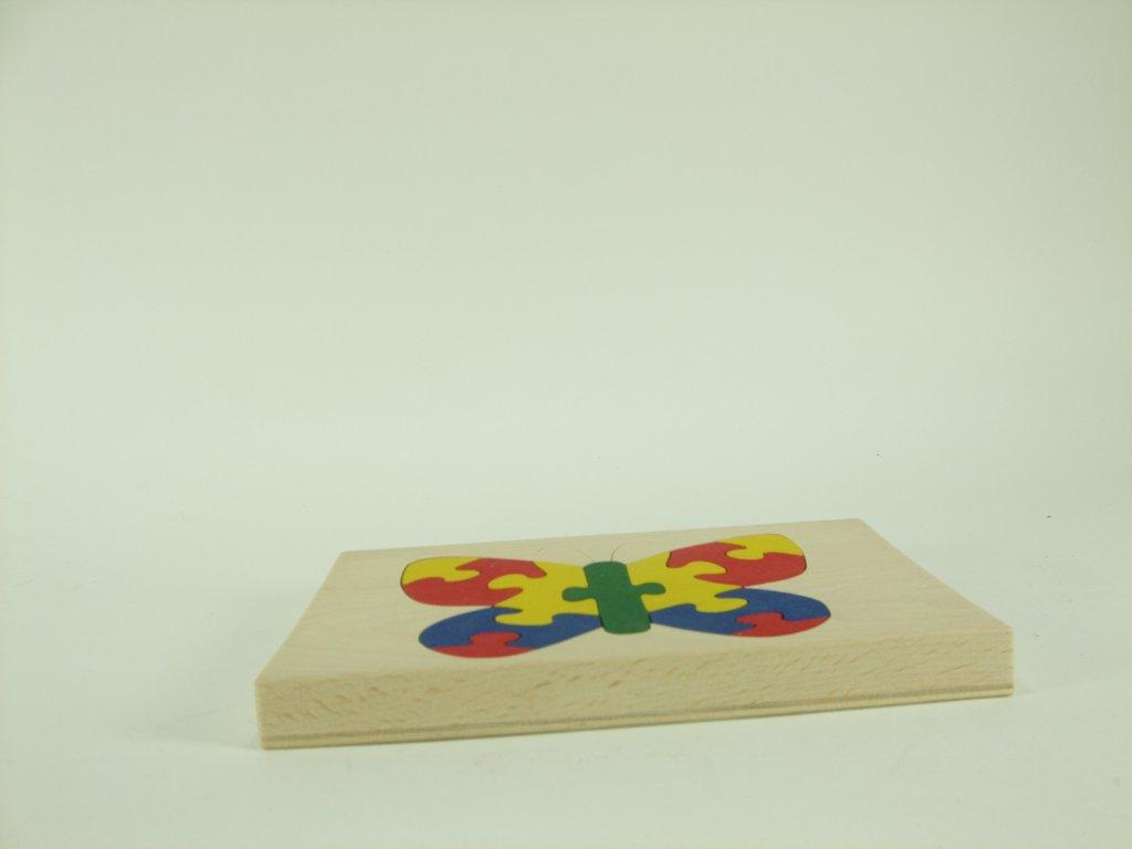 Puzzle na desce hračka ze dřeva - Želva