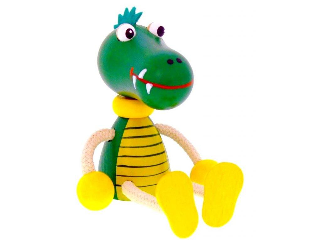 Sedací figurka hračka ze dřeva - Krokodýl